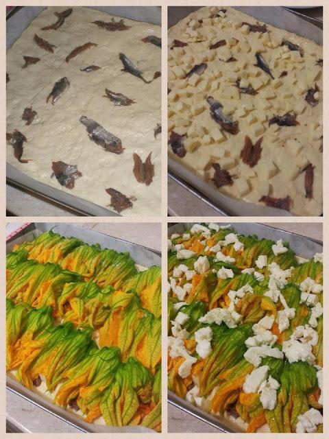 fasi della pizza ai fiori di zucca e alici