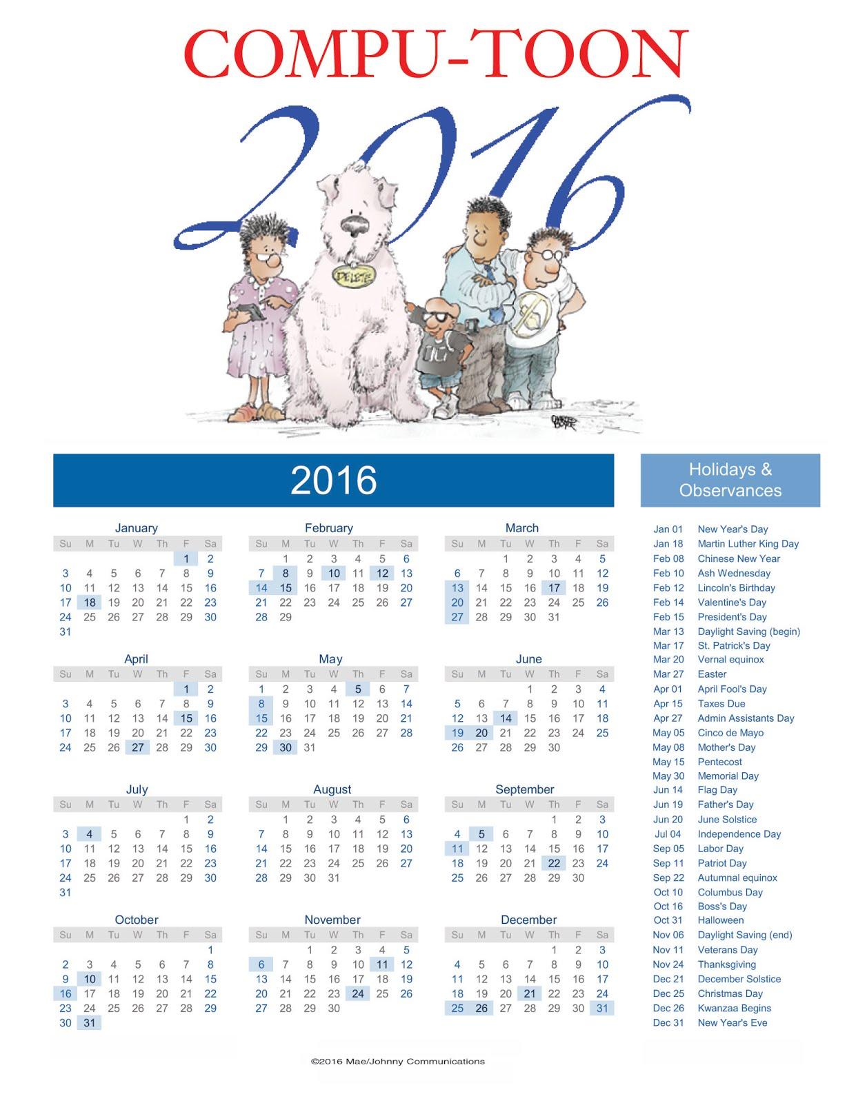 Compu-toon 2016 Calendar