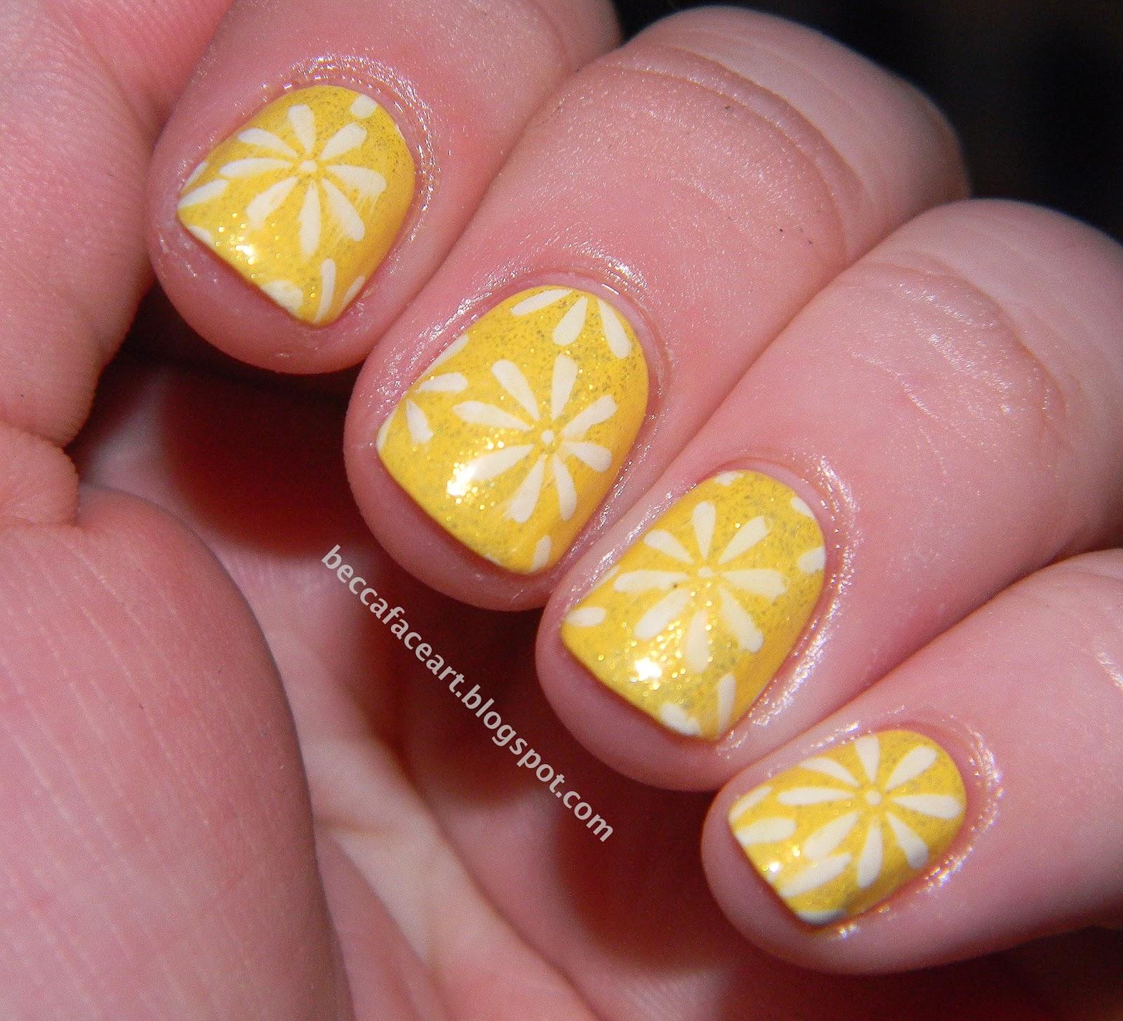 Becca Face Nail Art 31 Day Nail Art Challenge Day 3 Yellow Nails