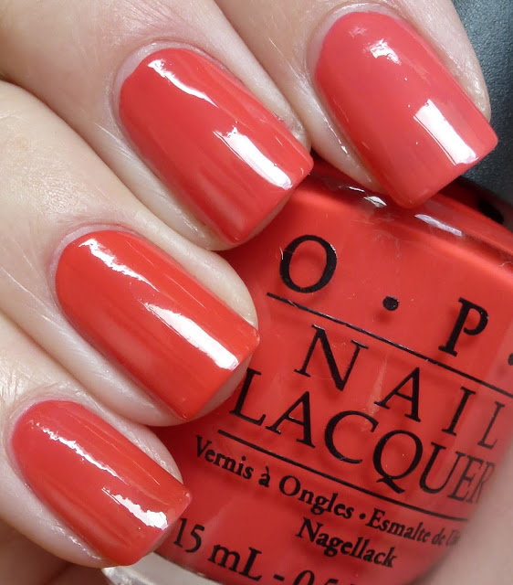 Coral Comparison - Big Hair... Big Nails, My Chihuahua Bites, Red Lights Ahead... Where?, Peach Daiquiri - OPI, Essie