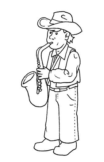 Vaquero tocando saxofón