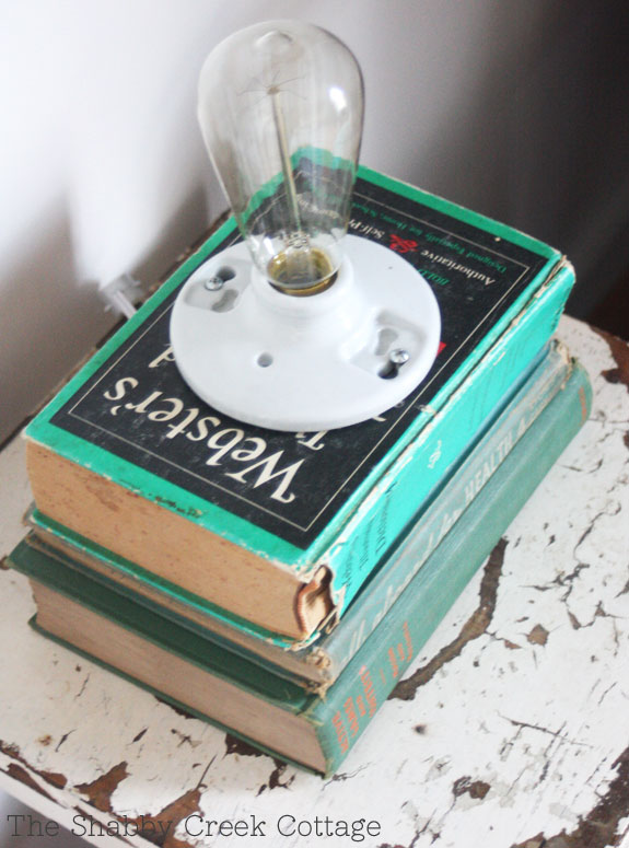 book lamp, home decor, lighting, upcycled, recycled, library, home office, DIY lighting