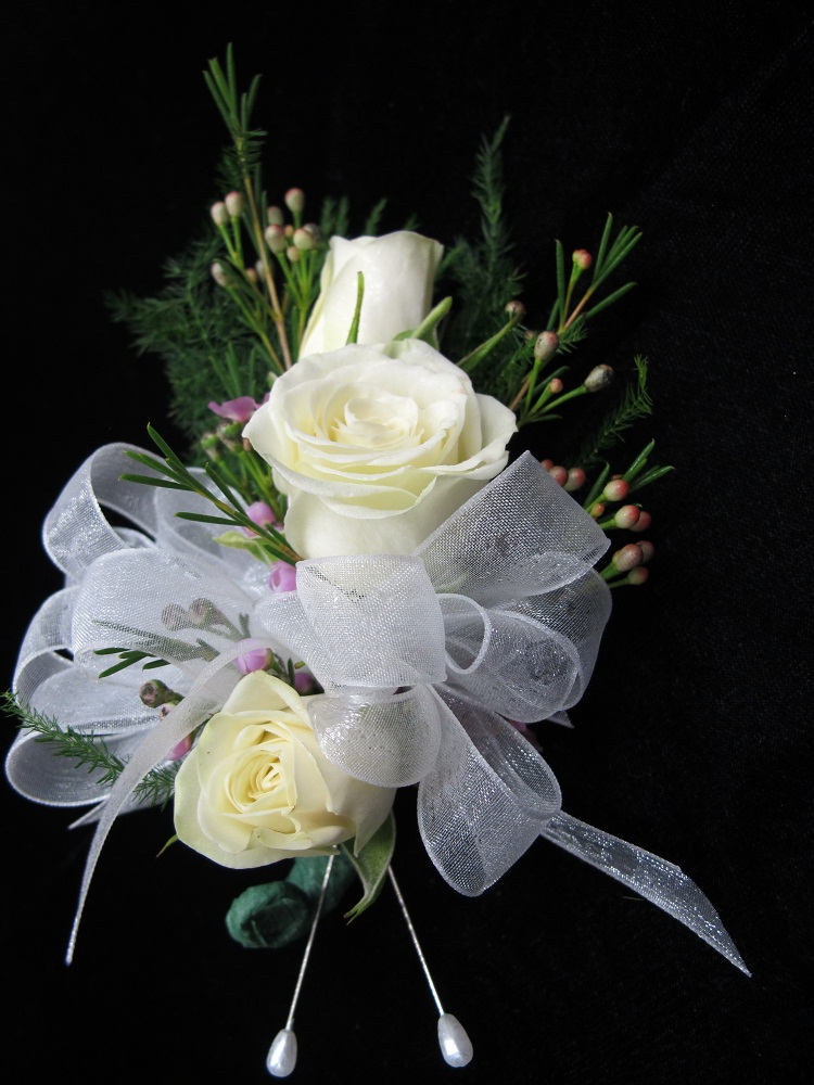White Rose And Orchid Corsage White Rose Pin on Corsage
