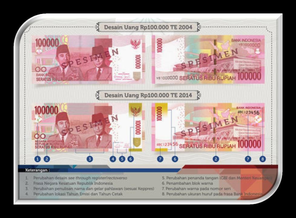 Perbandingan Desain Uang Baru NKRI Pecahan 100 Ribu Rupiah Tahun Emisi 2014 dengan Tahun Emisi 2004