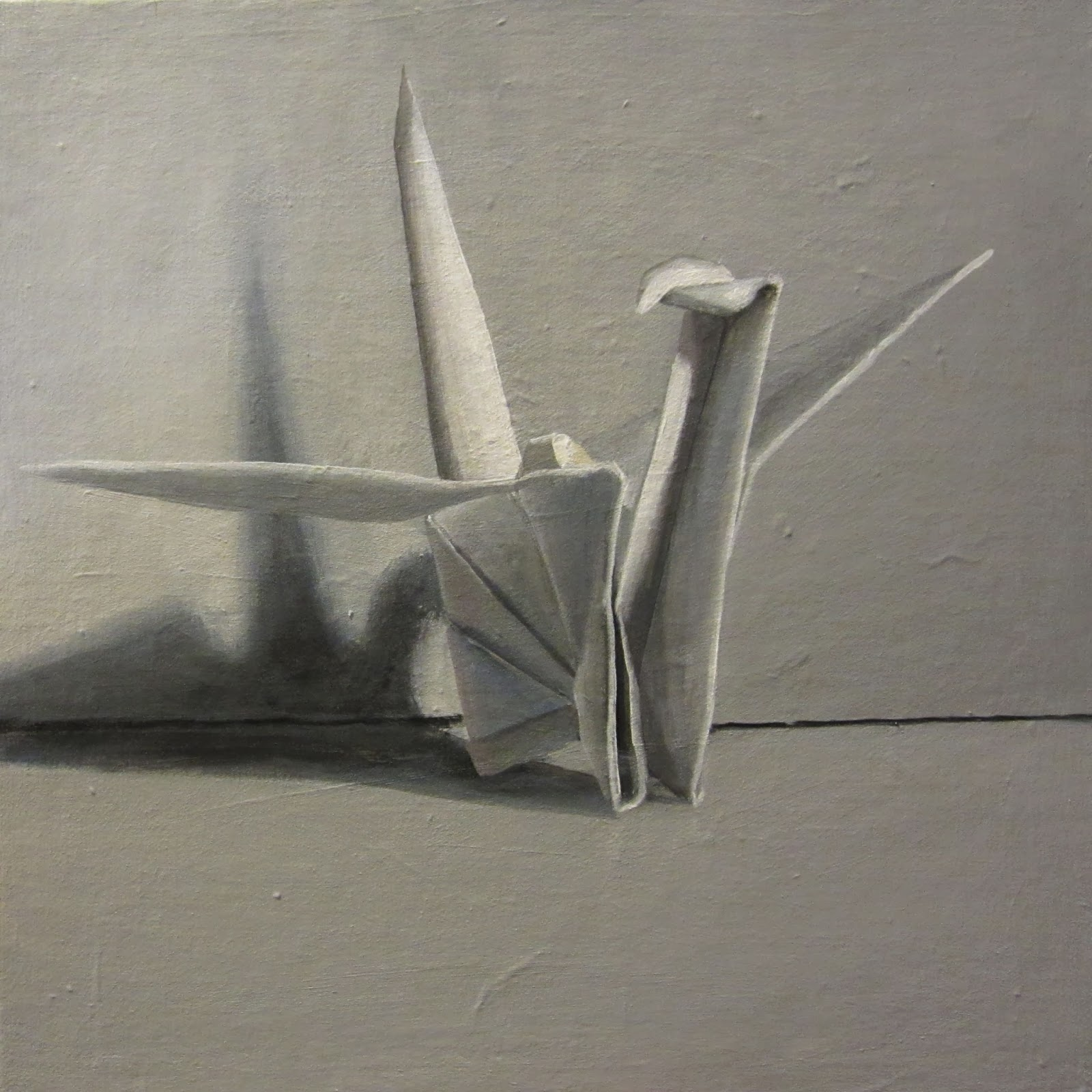 One Painting a Day: Origami Crane - Shades of Grey