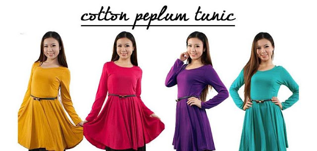 cotton peplum tunic murah