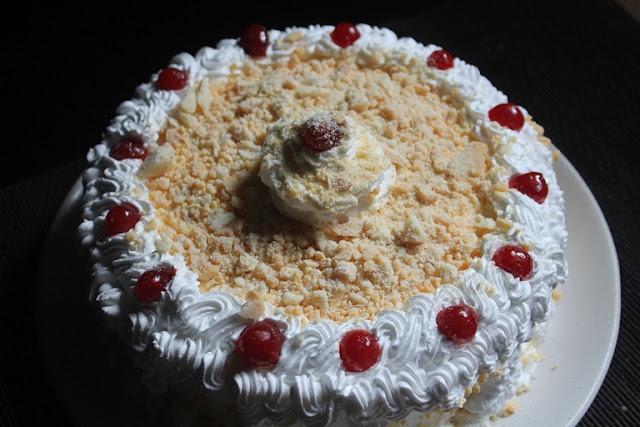 Eggless White Forest Cake Recipe