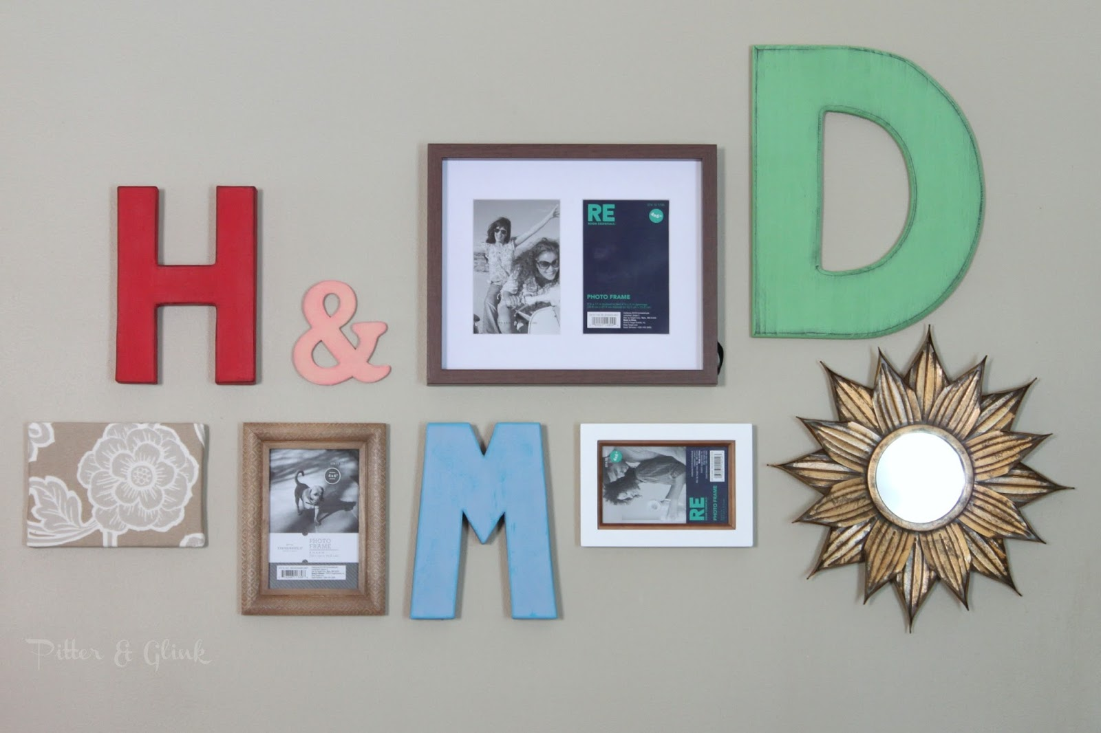 Create a beautiful gallery wall inexpensively with craft store items and Target frames.  pitterandglink.com