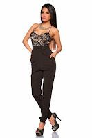 Salopeta eleganta, de culoare neagra, cu pantaloni lungi si top din dantela ( )