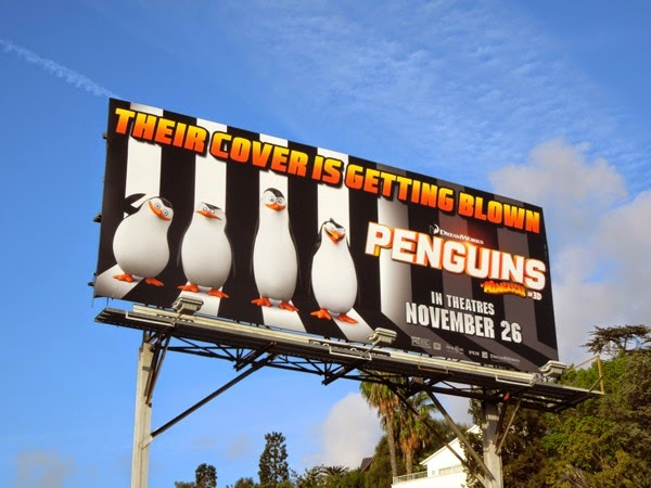 Penguins of Madagascar cover getting blown billboard
