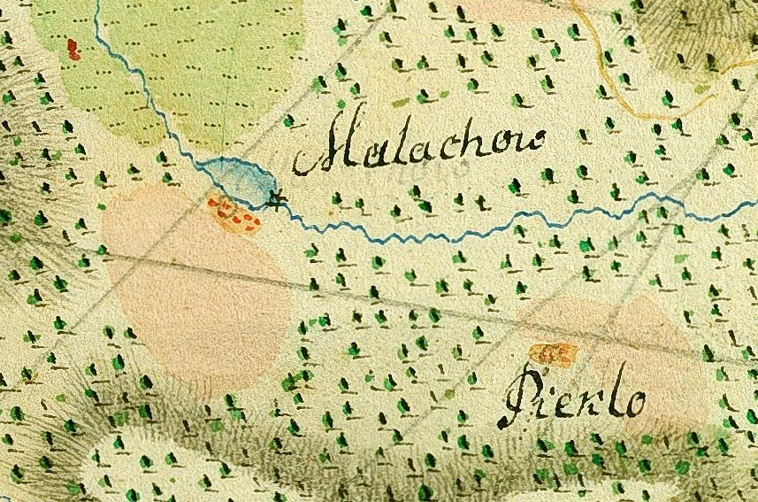 Małachów; koło wodne, zapewne i młyn były znane przed 1797. Fragment mapy z 1797 r. - proszę zwrócić uwagę na zaznaczone koła wodne. Mapa ze zbiorów AGAD nr inw. 179-21.