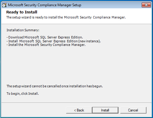 07 security compliance manager install