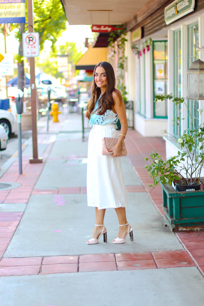 bardot top, white midi skirt, carlo pazolini pumps, pink nudes, asos clothing