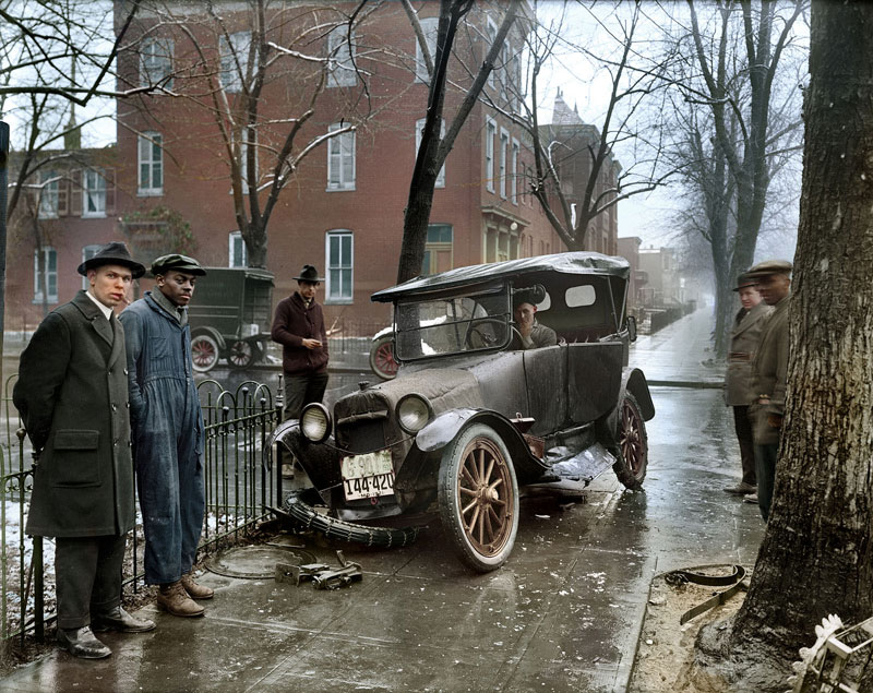 Accidente de coche en Washington DC en 1921