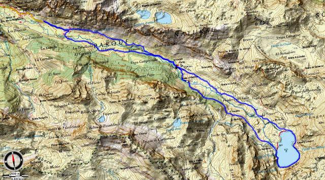 Mapa Topográfico general Ruta Valle del Lago