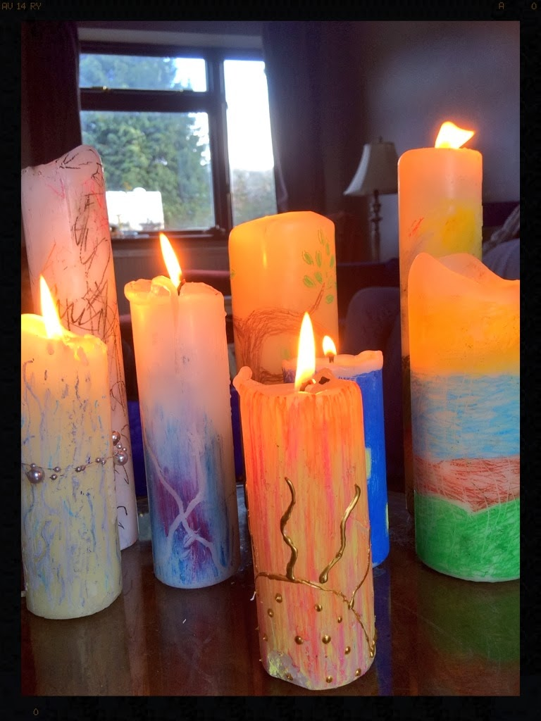 decorated candles for Candlemas