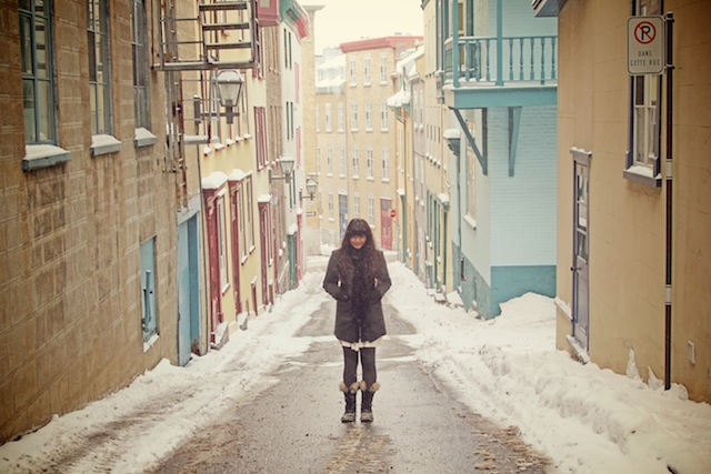 Standing on a street in Vieux Quebec City