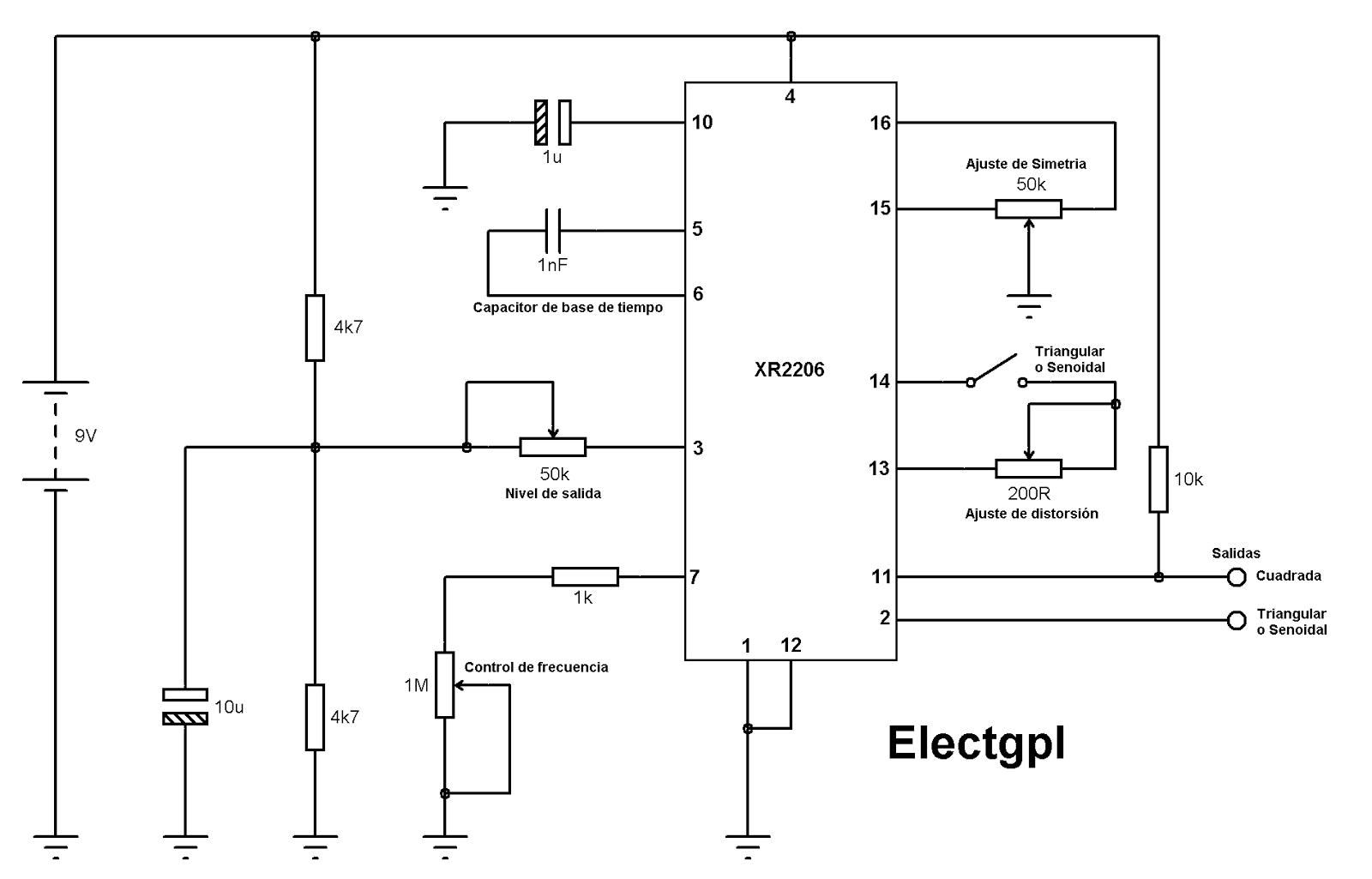 Circuito Xr2206 : Electgpl generador de funciones xr