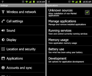 Android setting applications