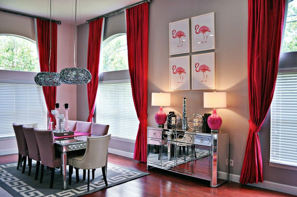 Superieur Red Dining Room Curtains Interior Design