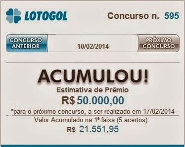 LotoGol concurso 595 Acumulou em 50 mil