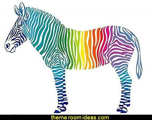 Rainbow Zebra Peel And Stick Fabric Wall Sticker Part 63
