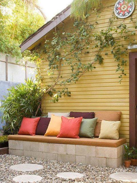 Cinder Blocks Backyard Bench