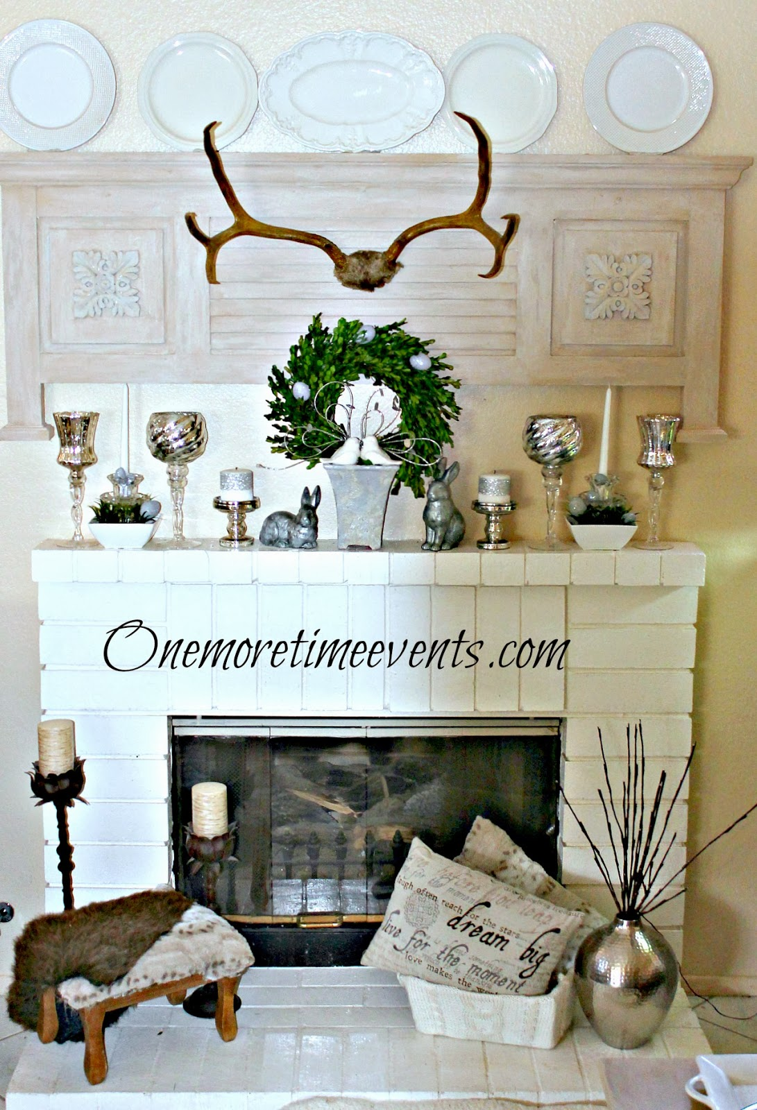 Fireplace decorated for Spring at One More Time Events.com