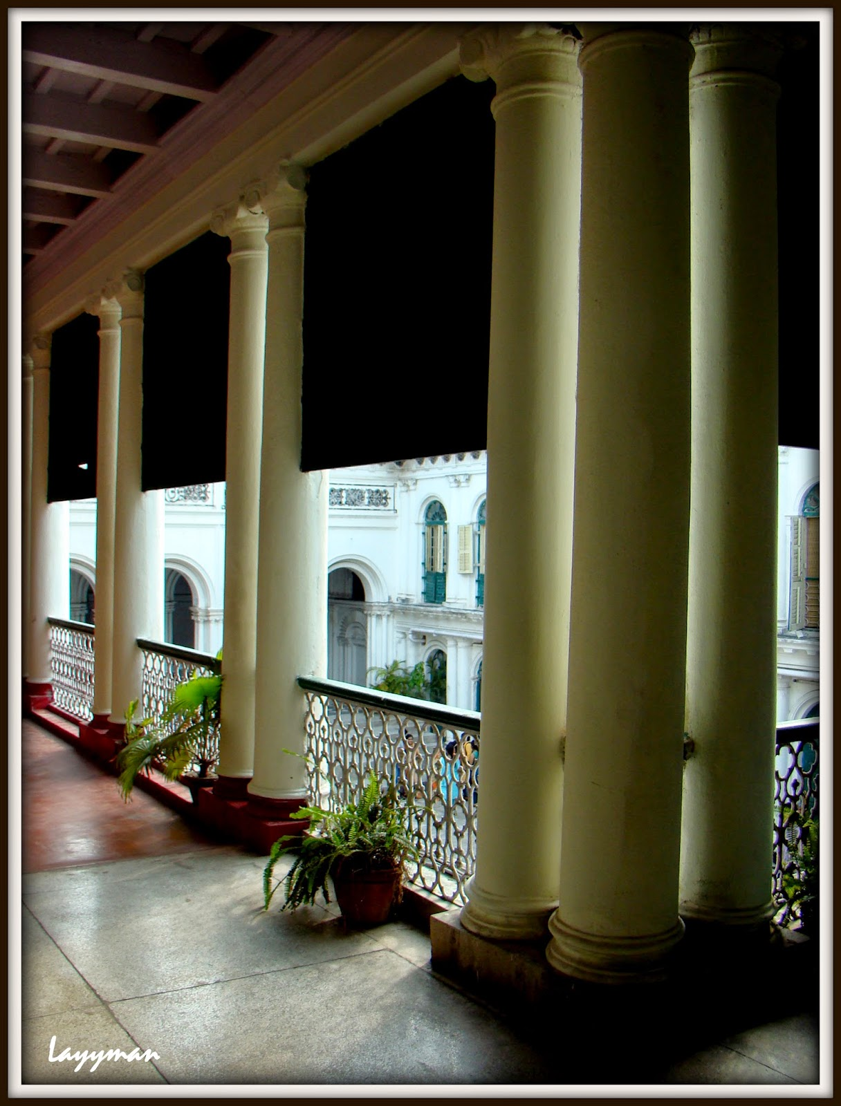 Effect of sun rays through the verandah pillars. Jorasanko Thakur Bari