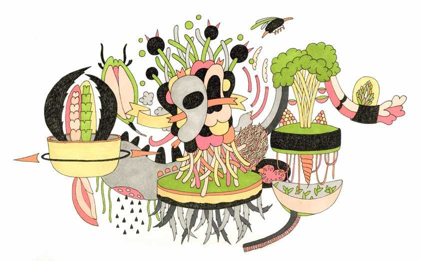 Colorful illustration with many plants, flowers and imaginary creatures floating