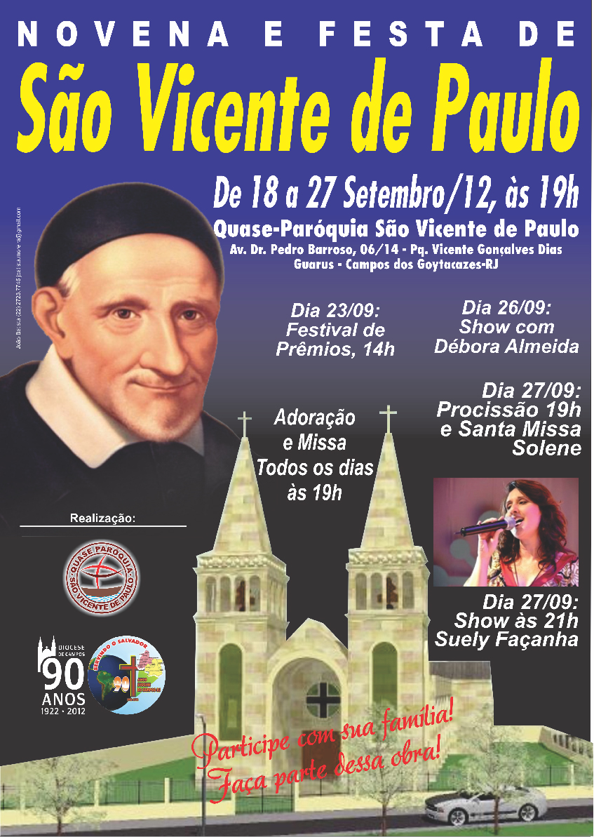 Toda a comunidade paroquial incluindo matriz e capelas est em contagem regressiva para o in cio da novena e festa de s o vicente de paulo