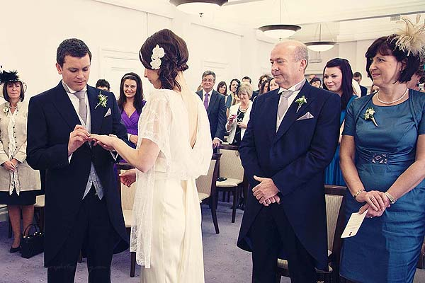 ring exchange at Marylebone Town hall wedding
