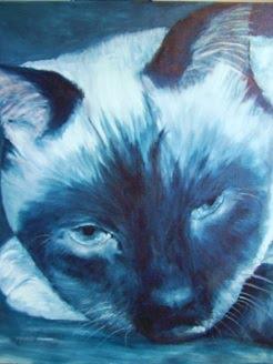 """""""Prima Donna"""", Siamese in monochrome-blues"""