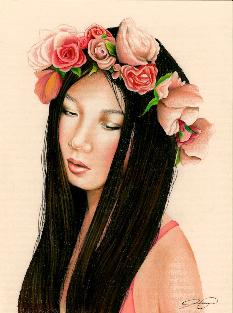 Art by Ling McGregor, Ling McGregor, UTS Student, Illustration, Primped and Primed, floral crown, Gary Pepper Vintage