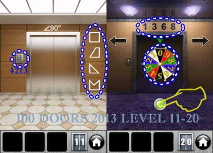 Game 100 doors 2013 floor 11 to 20 solution for Door 4 level 13