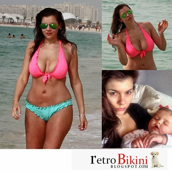English:Imogen Thomas Pink Bikini Dubai January 4, 2014