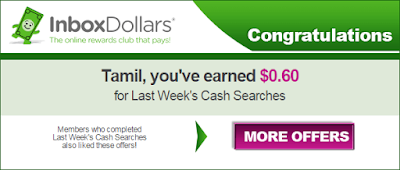 Weekly search bonus mail notification | Inbox dollars