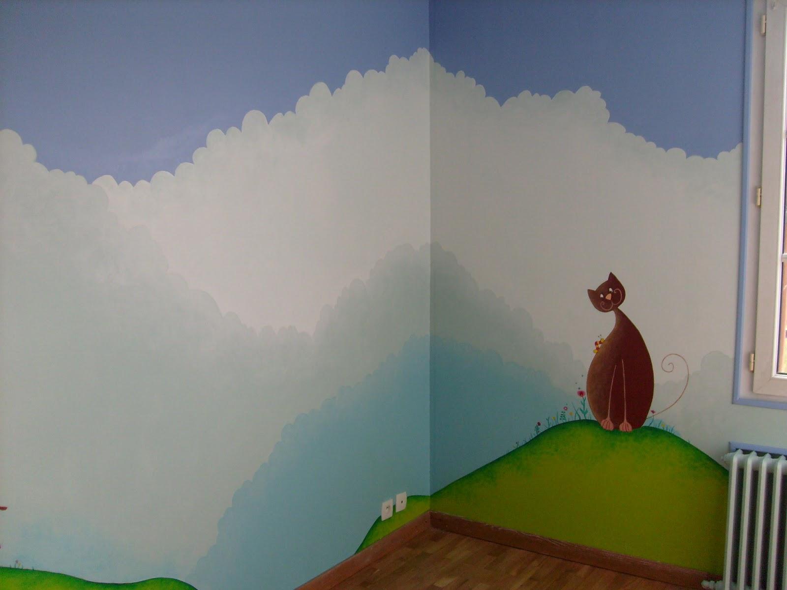 S verine peugniez cr ations peinture murale dans une chambre d 39 enfant - Fresque murale chambre fille ...