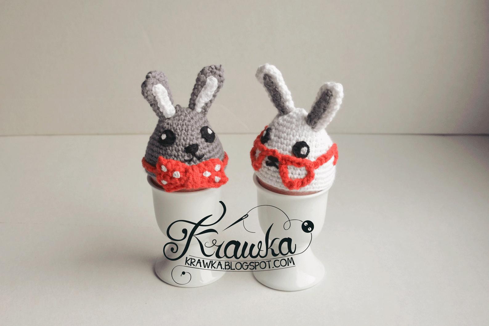 ocieplacze na jajka wielkanocne ozdoby na szydełku, królik w okularach i królik w muszce szydełko amigumumi, egg warmers rabbit in glasses, rabbit with bow tie easter gifts decoration crochet
