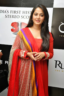 Actress Anushka Shetty Latest Pictures in Red Salwar Kameez at Rudramadevi Trailer Launch  13