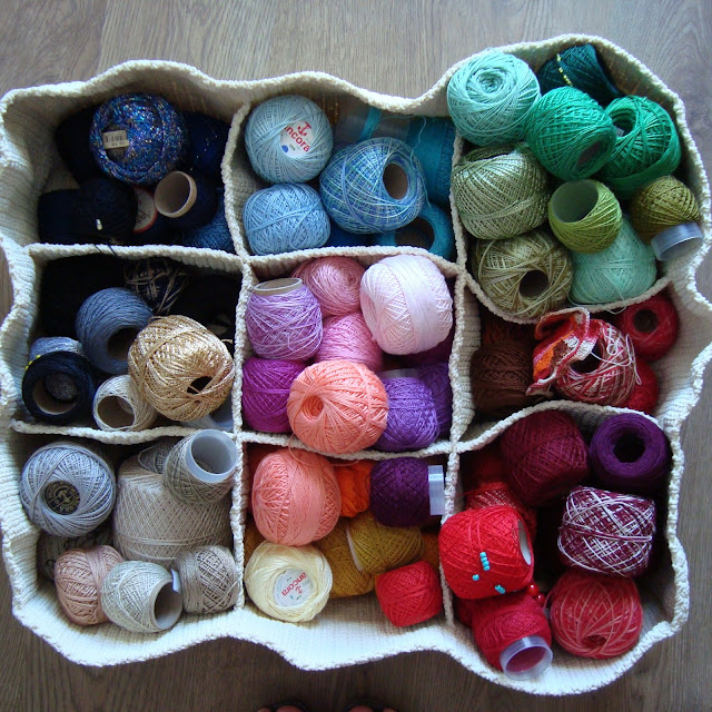 basket of crochet threads by Sara Aires