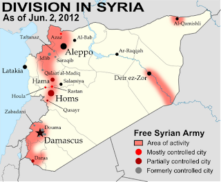 Map of Syria's uprising, marking cities and towns under control of the Free Syrian Army rebels as of June 2, 2012. Includes the site of the recent Houla massacre.