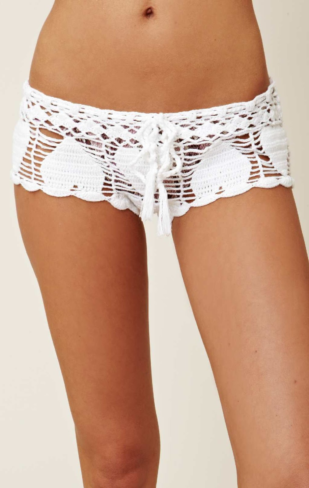 Available In White Crochet Shorts High Rise Floral Pattern Elastic Waistband Lined Shorts % Polyester.