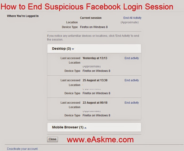 How to End Suspicious Login Activity on facebook : eAskme