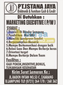 Lowongan Kerja Tribun Lampung, 12 Agustus 2014 PT Istana Jaya Cash & Credit