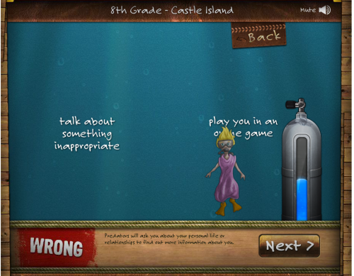 Princess is underwater. You have to answer correctly if she's to be able to get to the surface.
