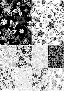 Цветочные фоны черно-белые