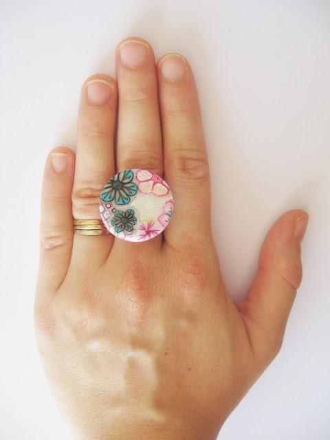 bague fleurie fait main polymère bijou