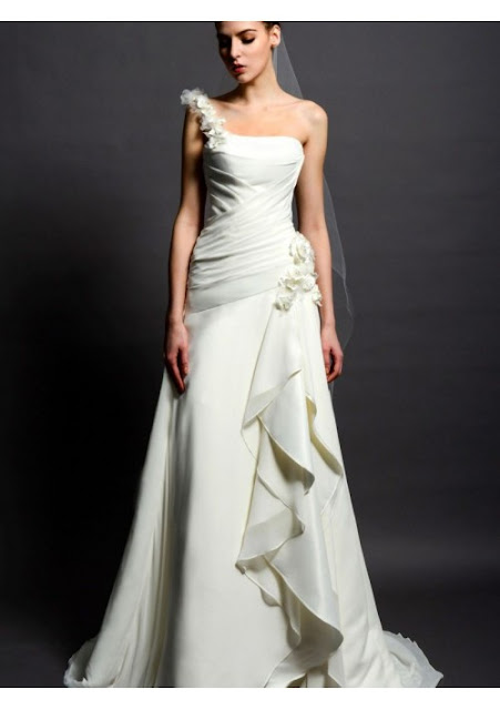 one-shouler wedding dress