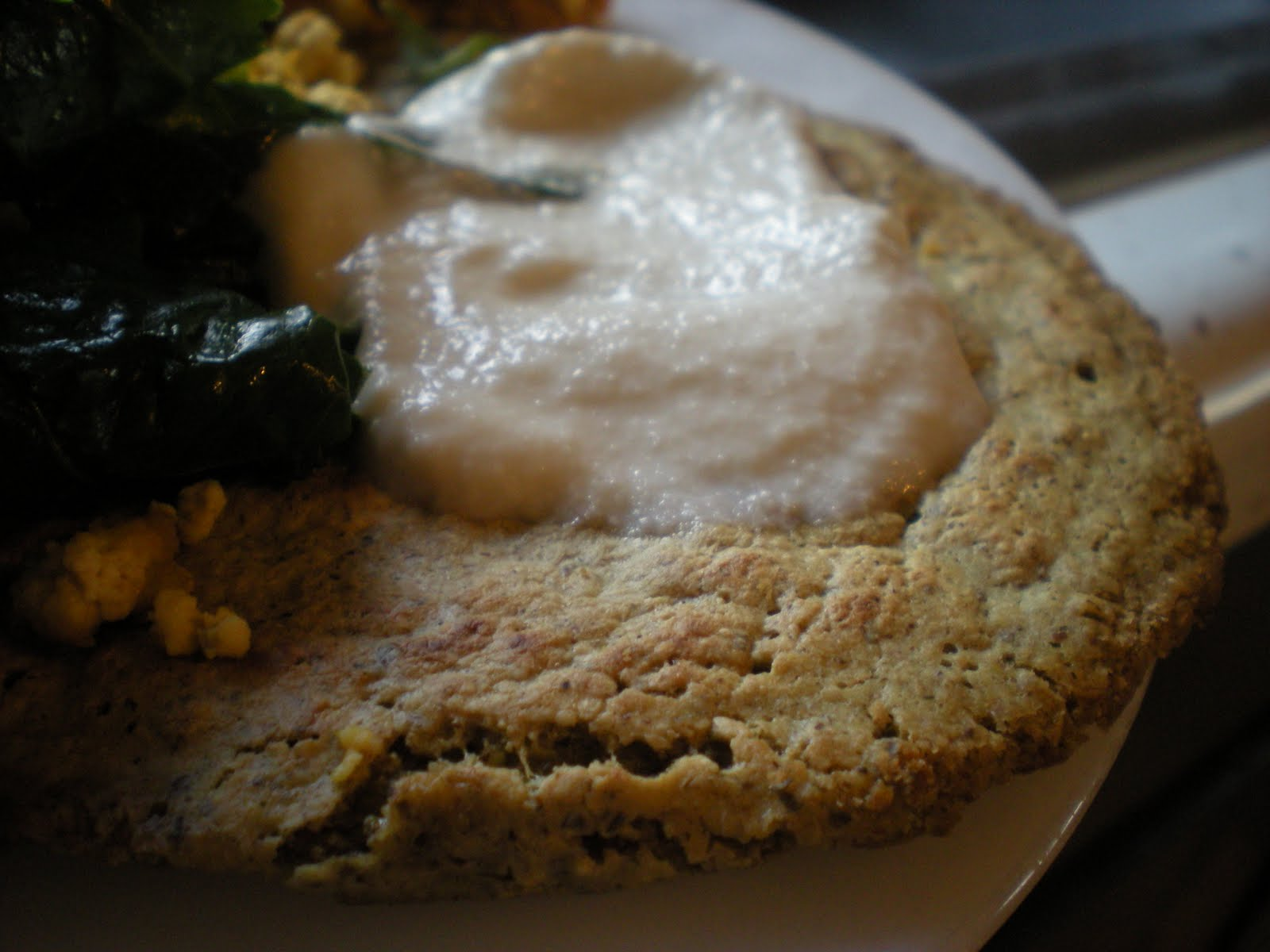 here's a closeup of a savory GF pancake topped with the cashew crema from  viva vegan. what's in the pancake? i'm so bad about not writing down  measurements ...